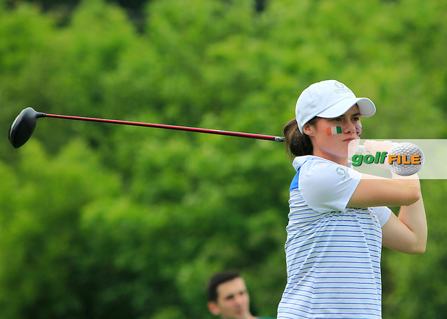 Leona Maguire on the 7th tee during the Friday afternoon Fourballs of the 2016 Curtis Cup at Dun Laoghaire Golf Club on Friday 10th June 2016.<br /> Picture:  Golffile | Thos Caffrey