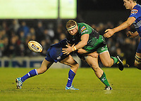 4th January 2014; Brett Wilkinson, Connacht, is tackled by Eoin Reddan, Leinster. Rabodirect Pro12, Connacht v Leinster, Sportsground, Galway. Picture credit: Tommy Grealy/actionshots.ie.