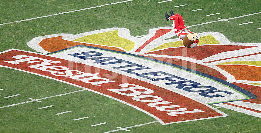 Brutus Buckeye flips out at midfield before the start of the Fiesta Bowl at University of Phoenix Stadium in Glendale, AZ on January 1, 2016.  (Chris Russell/Dispatch Photo)