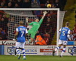 Simon Moore of Sheffield Utd covers a shot which hit the bar during the English League One match at Bramall Lane Stadium, Sheffield. Picture date: November 29th, 2016. Pic Simon Bellis/Sportimage