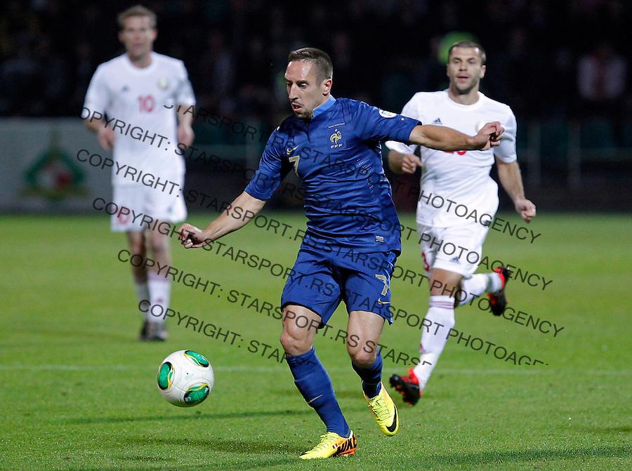 Fudbal Soccer<br /> World Cup 2014 qualifiers match<br /> Belarus v France<br /> Franck Ribery (L) and Sergei Balanovich (R)<br /> Gomel, 06.09.2013.<br /> foto: Srdjan Stevanovic/Starsportphoto &copy;