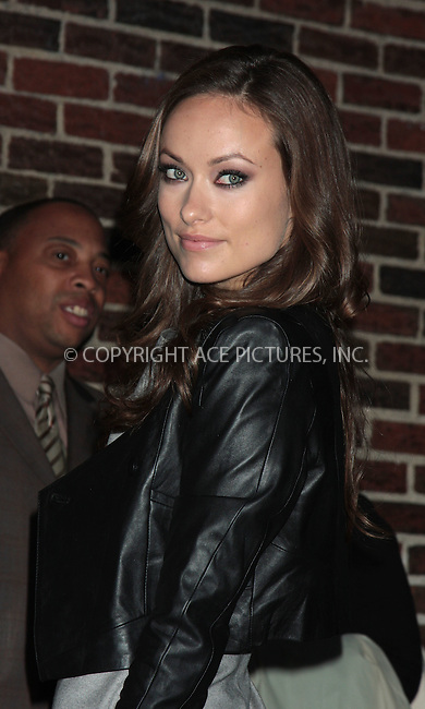 WWW.ACEPIXS.COM . . . . .  ....October 1 2009, New York City....Actress Olivia Wilde made an appearance at the 'Late Show with David Letterman' on October 1 2009 in New York City ....Please byline: AJ Sokalner - ACEPIXS.COM.... *** ***..Ace Pictures, Inc:  ..(212) 243-8787 or (646) 769 0430..e-mail: picturedesk@acepixs.com..web: http://www.acepixs.com