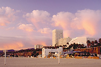 Santa Monica, CA, USA, Clouds, Sunset, Beach, Houses