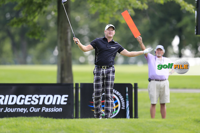 Jamie Donaldson (WAL) tees off the 9th tee during Thursday's Round 1 of the 2013 Bridgestone Invitational WGC tournament held at the Firestone Country Club, Akron, Ohio. 1st August 2013.<br /> Picture: Eoin Clarke www.golffile.ie