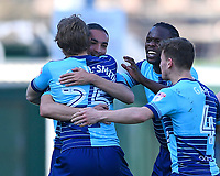Randell Williams of Wycombe Wanderers is mobbed after scoring the first goal during Yeovil Town vs Wycombe Wanderers, Sky Bet EFL League 2 Football at Huish Park on 14th April 2018