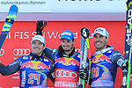 Valentin GIRAUD MOINE, Dominik PARIS, Johan CLAREY at the podium of the FIS Alpine Ski World Cup Men's Downhill in Kitzbuehel, on January 21, 2017. Italy's Dominik PARIS wins ahead of French Valentin GIRAUD MOINE, third also a French, Johan CLAREY.