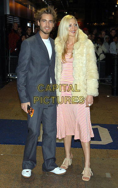 ALEX SIBLEY.big brother, white shoes, pinstripe trouser suit.XXX Film Premiere at Odeon, Leicester Square.www.capitalpictures.com.sales@capitalpictures.com.©Capital Pictures
