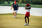 STILLWATER, OK -  Lakareber Abe of Alabama reacts to missing a putt that cost her team the Division I Women's Golf Team Match Play Championship held at the Karsten Creek Golf Club on May 23, 2018 in Stillwater, Oklahoma. (Photo by Shane Bevel/NCAA Photos via Getty Images)