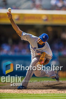 23 June 2013: Los Angeles Dodgers pitcher Kenley Jansen on the mound against the San Diego Padres at Petco Park in San Diego, California. The Dodgers defeated the Padres 3-1, splitting their 4-game Divisional Series at 2-2. Mandatory Credit: Ed Wolfstein Photo *** RAW (NEF) Image File Available ***