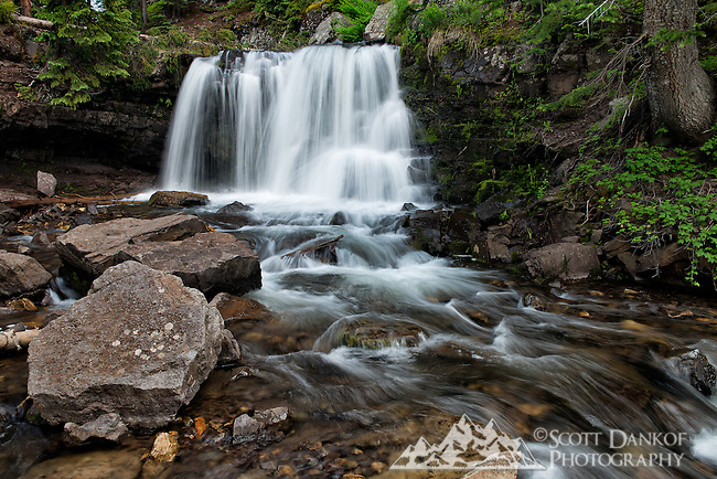 A short hike leads to this waterfall at Lake Irwin, Colorado.