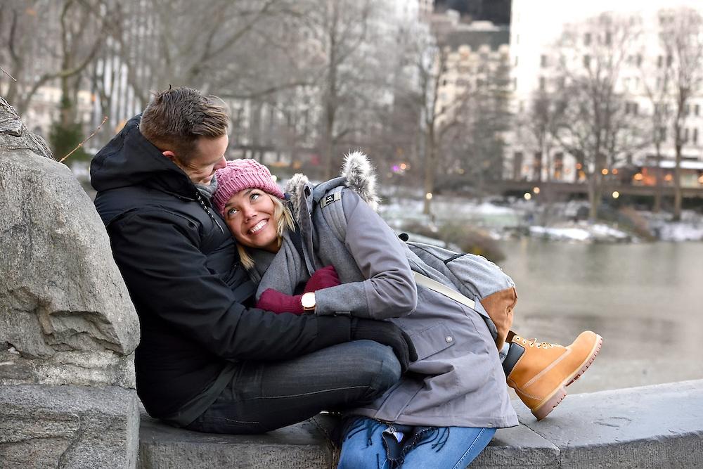 A romantic engagement portrait in Central Park