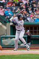 Kane County Cougars Eduardo Diaz (1) at bat during a Midwest League game against the Fort Wayne TinCaps at Parkview Field on May 1, 2019 in Fort Wayne, Indiana. Fort Wayne defeated Kane County 10-4. (Zachary Lucy/Four Seam Images)