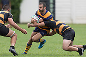 Vernon Comely gets tackled by Mitchell Thackham.  Premier Counties Power Club Rugby Round 3, Counties Power Game of the Week, between Patumahoe and Bombay, played at Patumahoe on Saturday March 24th 2018. <br /> Photo by Richard Spranger.<br /> <br /> Patumahoe Counties Power Cup Holders won the game 26 - 23 after trailing 7 - 23 at halftime.<br /> Patumahoe 26 - Penalty try, Richard Taupaki, Theodore Solipo, Craig Jones tries; Riley Hohepa 2 conversions. <br /> Bombay 23 - Shaun Muir, Jordan Goldsmith, Liam Daniela, tries; Tim Cossens conversion; Tim Cossens 2 penalties.