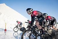 David de la Cruz (ESP/SKY) with Team Ineos at the stage start at the salt lake (factory) in Torrevieja <br /> <br /> Stage 1 (TTT): Salinas de Torrevieja to Torrevieja (13.4km)<br /> La Vuelta 2019<br /> <br /> ©kramon