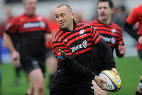 20130324 Copyright onEdition 2013©.Free for editorial use image, please credit: onEdition..Thomas Castaignede, former Saracens and French international, plays in the Saracens Old Boys match before the Premiership Rugby match between Saracens and Harlequins at Allianz Park on Sunday 24th March 2013 (Photo by Rob Munro)..For press contacts contact: Sam Feasey at brandRapport on M: +44 (0)7717 757114 E: SFeasey@brand-rapport.com..If you require a higher resolution image or you have any other onEdition photographic enquiries, please contact onEdition on 0845 900 2 900 or email info@onEdition.com.This image is copyright onEdition 2013©..This image has been supplied by onEdition and must be credited onEdition. The author is asserting his full Moral rights in relation to the publication of this image. Rights for onward transmission of any image or file is not granted or implied. Changing or deleting Copyright information is illegal as specified in the Copyright, Design and Patents Act 1988. If you are in any way unsure of your right to publish this image please contact onEdition on 0845 900 2 900 or email info@onEdition.com