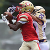 Eliot Porter #8 of Half Hollow Hills West, left, makes a catch 14-yard touchdown reception in the second quarter of a Suffolk County Division 3 varsity football game against Sayville at Hills West High School in Dix Hills on Saturday, Sept. 15, 2018. Hills West won by a score of 34-18.