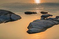 Klipphäll i solgult hav på Kallskär i Stockholms  skärgård.