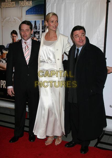 The Producers New York Premiere ..December 4, 2005 - Ziegfeld Theatre..New York City..MATTHEW BRODERICK, UMA THURMAN AND NATHAN LANE