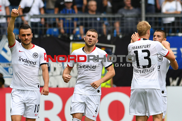 11.08.2019, Carl-Benz-Stadion, Mannheim, GER, DFB Pokal, 1. Runde, SV Waldhof Mannheim vs. Eintracht Frankfurt, <br /> <br /> DFL REGULATIONS PROHIBIT ANY USE OF PHOTOGRAPHS AS IMAGE SEQUENCES AND/OR QUASI-VIDEO.<br /> <br /> im Bild: Filip Kostic (Eintracht Frankfurt #10), Ante Rebic (Eintracht Frankfurt #4), Martin Hinteregger (Eintracht Frankfurt #13), Dejan Joveljic (Eintracht Frankfurt #7)<br /> <br /> Foto © nordphoto / Fabisch