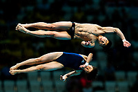 Picture by Rogan Thomson/SWpix.com - 15/07/2017 - Diving - Fina World Championships 2017 -  Duna Arena, Budapest, Hungary - Mi Rae Kim and Myong Hyon Il of D.P.R Korea compete in the Mixed 10m Synchro Platform Final.