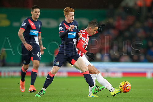 02.03.2016. The Britannia Stadium, Stoke, England. Barclays Premier League. Stoke City versus Newcastle United. Newcastle United midfielder Jack Colback and Stoke City midfielder Ibrahim Afellay.