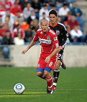 Chicago midfielder Freddie Ljungberg (8) surveys the field.  The Chicago Fire tied DC United 0-0 at Toyota Park in Bridgeview, IL on Oct. 16, 2010.