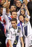 CARSON, CA - DECEMBER 01, 2012:   David Beckham (23) of the Los Angeles Galaxy with his three sons during the 2012 MLS Cup at the Home Depot Center, in Carson, California on December 01, 2012. The Galaxy won 3-1.