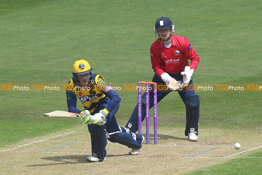Kiran Carlson in batting action for Glamorgan as Adam Wheater looks on from behind the stumps during Glamorgan vs Essex Eagles, Royal London One-Day Cup Cricket at the SSE SWALEC Stadium on 7th May 2017