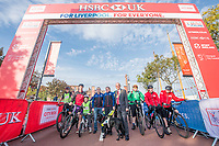 Picture by Allan McKenzie/SWpix.com - 24/09/2017 - Cycling - HSBC UK City Ride Liverpool - Albert Dock, Liverpool, England - Neil & Lora Fachie on the start line with Mayor Malcolm Kennedy, Brendon and Imogen Cook, HSBC UK, branding.