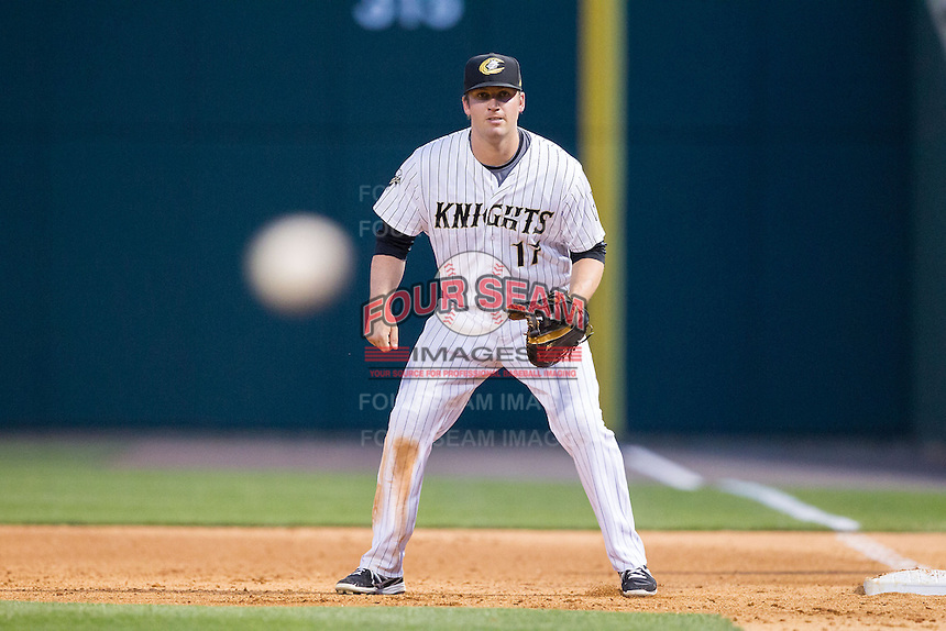 Charlotte Knights first baseman Andy Wilkins (17) on defense against the Lehigh Valley IronPigs at BB&T Ballpark on May 8, 2014 in Charlotte, North Carolina.  The IronPigs defeated the Knights 8-6.  (Brian Westerholt/Four Seam Images)