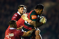 Manu Tuilagi of Leicester Tigers takes on the Scarlets defence. Heineken Champions Cup match, between Leicester Tigers and the Scarlets on October 19, 2018 at Welford Road in Leicester, England. Photo by: Patrick Khachfe / JMP