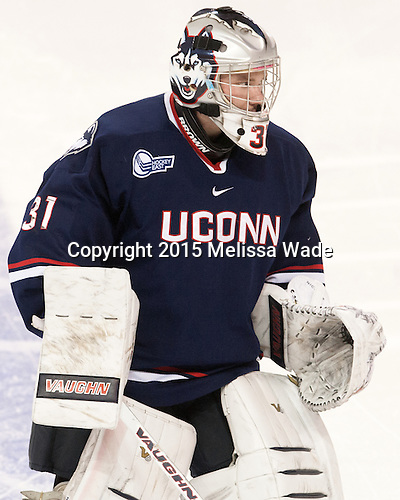 Rob Nichols (UConn - 31) - The Boston College Eagles defeated the visiting University of Connecticut Huskies 3-2 on Saturday, January 24, 2015, at Kelley Rink in Conte Forum in Chestnut Hill, Massachusetts.