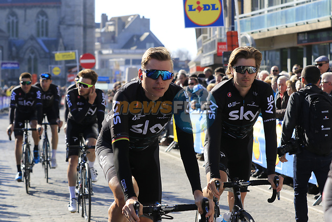 Team Sky including Christian Knees (GER) and Jonathan Dibben (GBR) head to sign on before the start of Gent-Wevelgem in Flanders Fields 2017, running 249km from Denieze to Wevelgem, Flanders, Belgium. 26th March 2017.<br /> Picture: Eoin Clarke | Cyclefile<br /> <br /> <br /> All photos usage must carry mandatory copyright credit (&copy; Cyclefile | Eoin Clarke)
