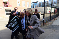 Washington, DC - February 10, 2017: Protestors block Secretary of Education Betsy DeVos and clash with her security detail as she arrives at the Jefferson Middle Academy in the District of Columbia, February 10, 2017. Three protestors successfully prevented DeVos from entering the school.   (Photo by: Don Baxter/Media Images International)