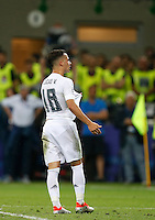 Calcio, finale di Champions League: Real Madrid vs Atletico Madrid. Stadio San Siro, Milano, 28 maggio 2016.<br /> Real Madrid&rsquo;s Lucas Vazquez celebrates after scoring during the penalty shootout of the Champions League final match between Real Madrid and Atletico Madrid, at Milan's San Siro stadium, 28 May 2016. Real Madrid won 5-4 on penalties after the match ended 1-1.<br /> UPDATE IMAGES PRESS/Isabella Bonotto