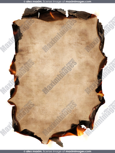 Sheet of old vintage paper with burning edges isolated on white background. Secure information, love letter, memories concept