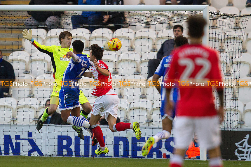 Ben Garratt of Crewe Alexandra makes an amazing point blank reaction save from Richard Brindley of Colchester United during Colchester United vs Crewe Alexandra, Sky Bet EFL League 2 Football at the Weston Homes Community Stadium on 26th November 2016
