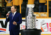 June 11th 2017, Nashville, TN, USA;  NHL Commissioner Gary Bettman is shown following Game 6 of the Stanley Cup Final between the Nashville Predators and the Pittsburgh Penguins, held on June 11, 2017, at Bridgestone Arena in Nashville, Tennessee.