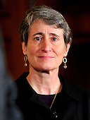 Sally Jewell, President and CEO, REI, listens as United States President Barack Obama delivers remarks on the America's Great Outdoors initiative in the East Room of the White House in Washington, D.C. on Wednesday, February 16, 2011.  The President established the America's Great Outdoors initiative on April 16, 2010, charging the Secretaries of the Departments of the Interior and Agriculture, the Administrator of the Environmental Protection Agency, and the Chair of the White House Council on Environmental Quality the responsibility to develop a 21st century conservation and recreation strategy based on the priorities of American communities..Credit: Ron Sachs / Pool via CNP