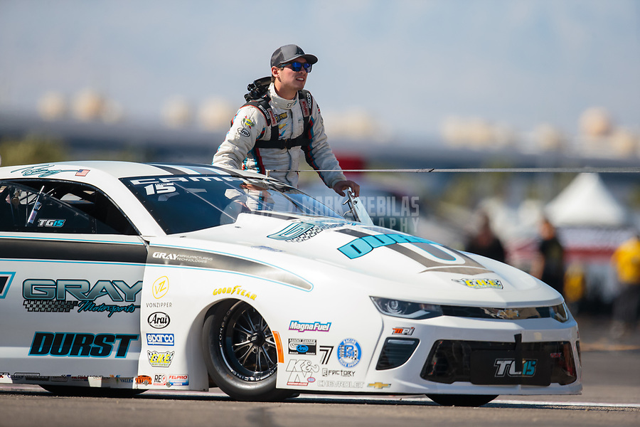 Oct 26, 2018; Las Vegas, NV, USA; NHRA pro stock driver Tanner Gray during qualifying for the Toyota Nationals at The Strip at Las Vegas Motor Speedway. Mandatory Credit: Mark J. Rebilas-USA TODAY Sports