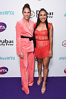 LONDON, UK. June 28, 2019: Johanna Konta & Heather Watson arriving for the WTA Summer Party 2019 at the Jumeirah Carlton Tower Hotel, London.<br /> Picture: Steve Vas/Featureflash