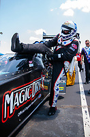 Jun 8, 2019; Topeka, KS, USA; NHRA top fuel driver Scott Palmer during qualifying for the Heartland Nationals at Heartland Motorsports Park. Mandatory Credit: Mark J. Rebilas-USA TODAY Sports