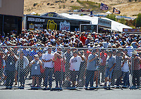 Jul 31, 2016; Sonoma, CA, USA; NHRA fans in attendance at the Sonoma Nationals at Sonoma Raceway. The day was announced as a Sellout. Mandatory Credit: Mark J. Rebilas-USA TODAY Sports
