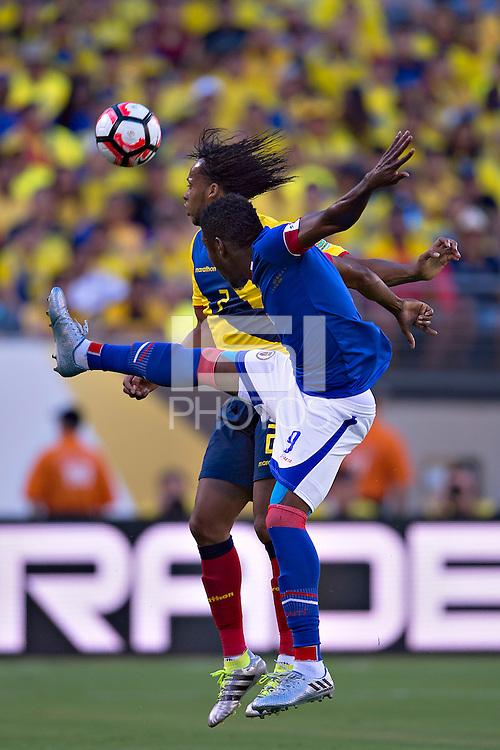 Action photo during the match Ecuador vs Haiti at MetLife Stadium Copa America Centenario 2016. ---Foto  de accion durante el partido Ecuador vs Haiti, En el Estadio MetLife Partido Correspondiante al Grupo - B -  de la Copa America Centenario USA 2016, en la foto: (i)-(d) Arturo Mina, Kervens Belfort<br /> <br /> -- 12/06/2016/MEXSPORT/Javier Ramirez.