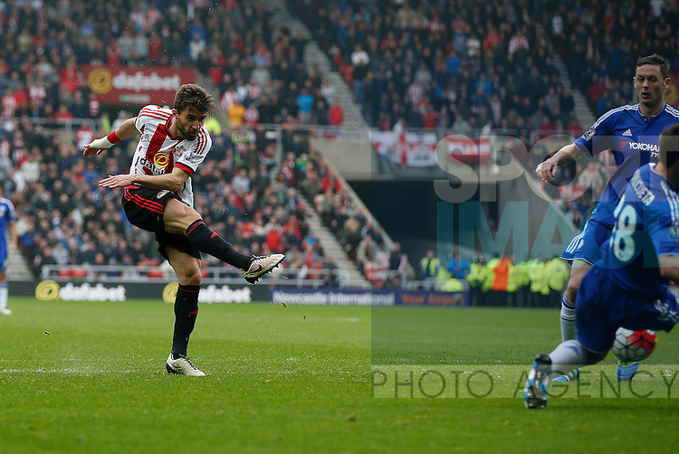 Fabio Borini of Sunderland  scoring the equalising second goal during the Barclays Premier League match at the Stadium of Light, Sunderland. Photo credit should read: Simon Bellis/Sportimage via PA Images