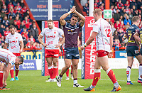 Picture by Allan McKenzie/SWpix.com - 29/04/2018 - Rugby League - Betfred Super League - Hull KR v Leeds Rhinos - KC Lightstream Stadium, Hull, England - Leeds's Joel Moon celebrates his try against Hull KR.