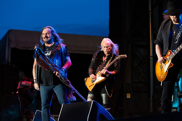 May 6, 2016. Concord, North Carolina. <br />  (from left) Johnny Van Zant, Rickey Medlocke and Gary Rossington of Lynyrd Skynyrd.<br />  The 2016 Carolina Rebellion was held over May 6-8 next to the Charlotte Motor Speedway and featured over 50 bands including headliners Lynyrd Skynyrd, The Scorpions, Five Finger Death Punch, Disturbed, and Rob Zombie.