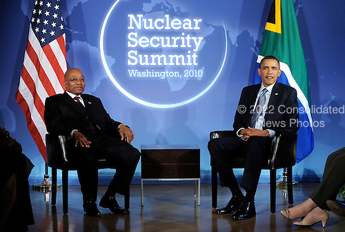 United States President Barack Obama holds bilateral meeting with President Jacob Zuma of South Africa at the Blair House during the Nuclear Security Summit, Sunday, April 11, 2010 in Washington, DC. .Credit: Olivier Douliery / Pool via CNP
