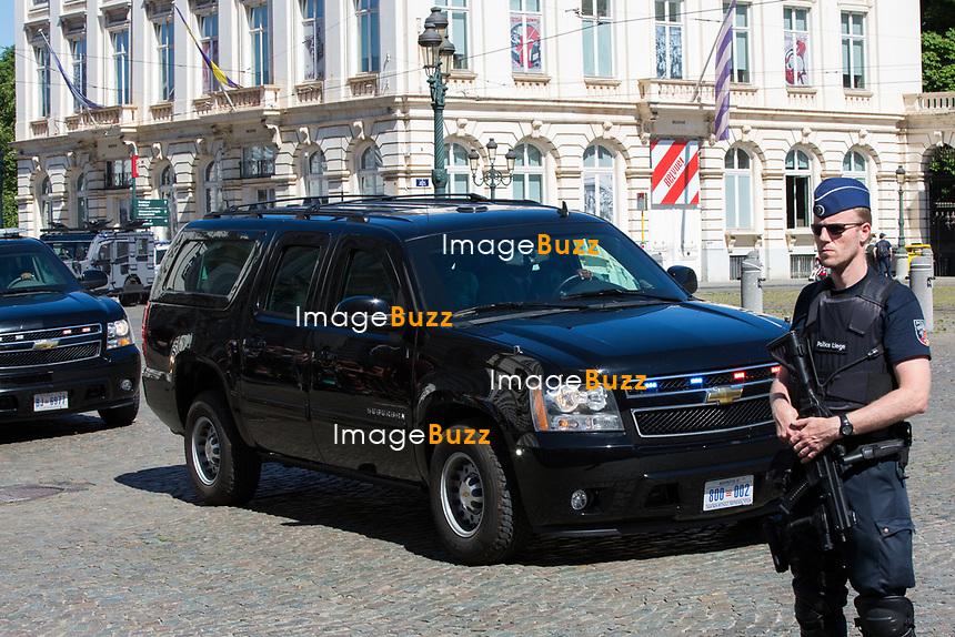 Melania Trump - Les conjoints des chefs d&rsquo;Etat et de gouvernement lors d'une visite du Mus&eacute;e Magritte &agrave; Bruxelles.<br /> Belgique, Bruxelles, 25 mai 2017.<br /> Melania Trump arrives for a visit of the First Ladies to the Magritte Museum in Brussels.<br /> Belgium, Brussels, 25 May 2017.