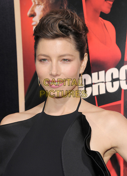 "Jessica Biel (wearing Gucci).""Hitchcock"" Los Angeles Premiere held at the AMPAS Samuel Goldwyn Theater, Beverly Hills, California, USA.  .November 20th, 2012.headshot portrait black sleeveless halterneck frills ruffle pink lipstick .CAP/RKE/DVS.©DVS/RockinExposures/Capital Pictures."